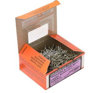 """1-1 / 4"""" Grey Stainless Steel Maze Smooth Shank Nail, 1 LB Ctn"""