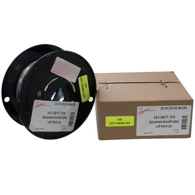 1 / 8 X 250 FT, 7X19 Galvanized Aircraft Cable, Left Hand Lay