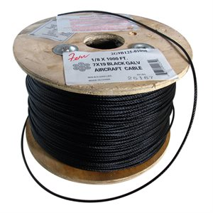 3 / 32 X 5000 FT, 7X19 Black Galvanized Aircraft Cable