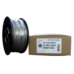 1 / 16-3 / 32 7X7 X 100 FT, Clear PVC Coated Galvanized Aircraft Cable