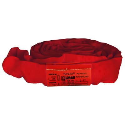 EN150 X 8 FT Red Tuflex Polyester Roundsling